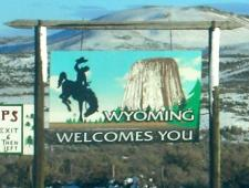 Wyoming state welcome sign, along Interstate 80, entering from Utah. Photograph by ErgoSum88 via Wikimedia Commons.