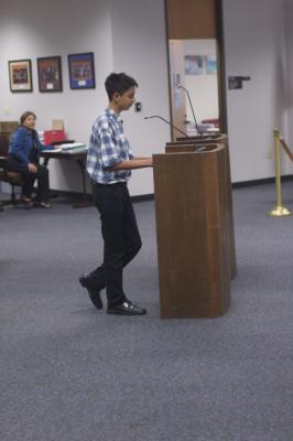 Ninth grader testifies before the board of education