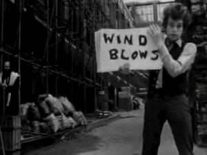 "Bob Dylan in the ""Subterranean Homesick Blues"" video"