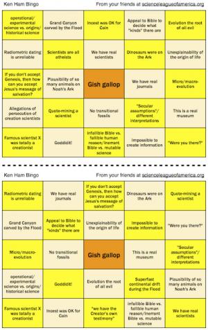 Ken Ham Bingo card