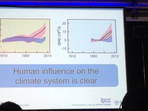 """A slide from the IPCC press conference, tweeted by JPascal van Ypersele (@JPvanYpersele), showing a graph of climate change models with and without a human role, labeled: """"Human influence on the climate system is clear"""""""