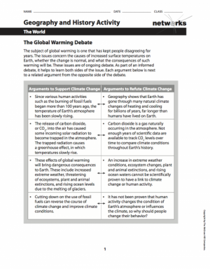 """Handout for students, presenting arguments which support or supposedly """"refute climate change"""""""