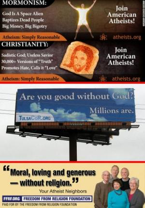 Billboards from American Atheists, FFRF, and United Coalition of Reason, showing confrontational and nonconfrontational approaches