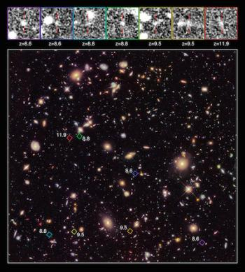The most distant galaxies ever observed. Via NASA.