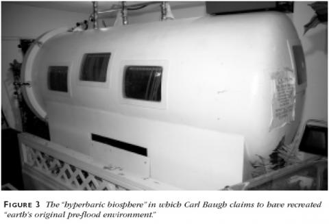 Figure 3: The hyperbaric biosphere in which Carl Baugh claims to have recreated earth's original pre-flood environment.