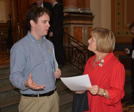 Kyle with Rep. Steckman; retired teacher and education advocate