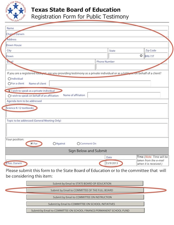 Sample registration form for board of education hearing