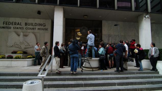 Reporters waiting outside the federal courthouse in Harrisburg, PA.