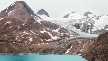 mountain with glacier