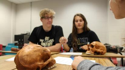 students with fossils