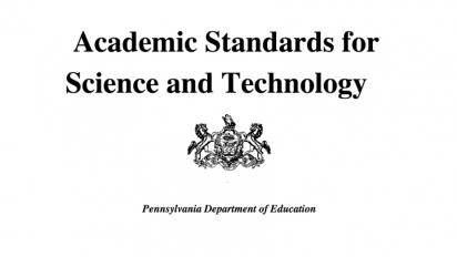 Cover sheet of PA science standards document