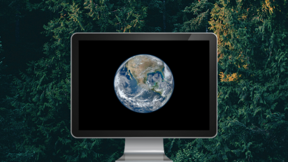 Earth image on a computer screen