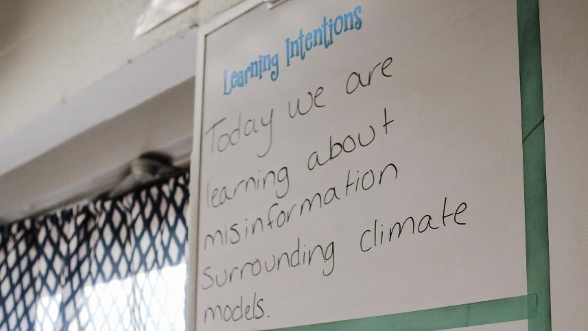 whiteboard with lesson intentions