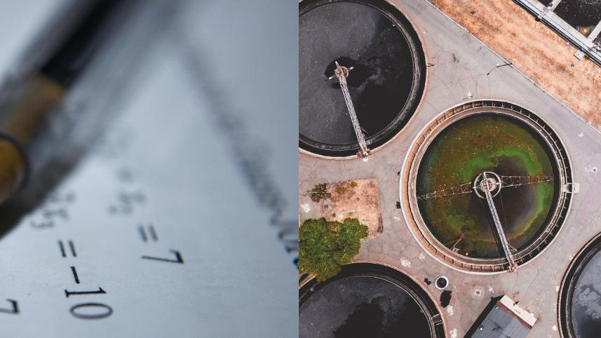 Math problem and an overhead shot of a sewage treatement facility